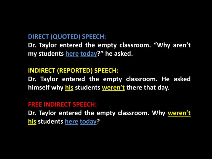 DIRECT (QUOTED) SPEECH: