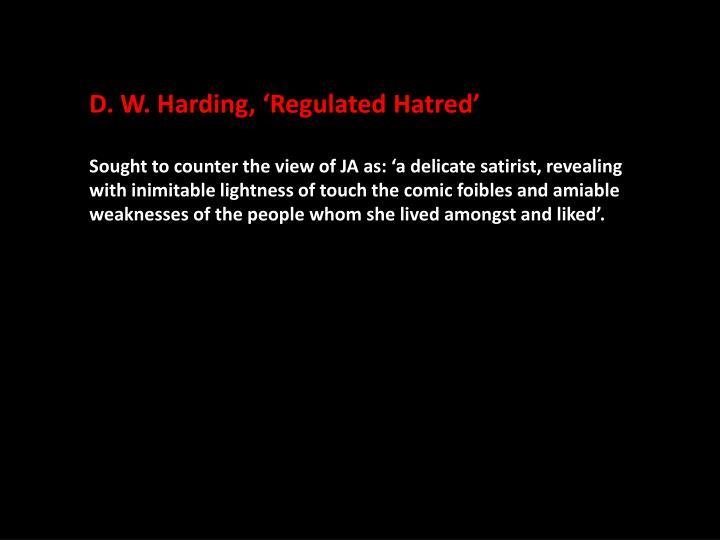 D. W. Harding, 'Regulated Hatred'