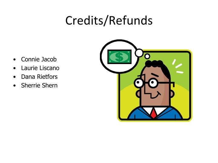 credits refunds n.