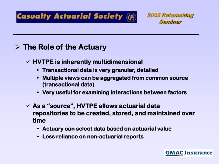 The Role of the Actuary