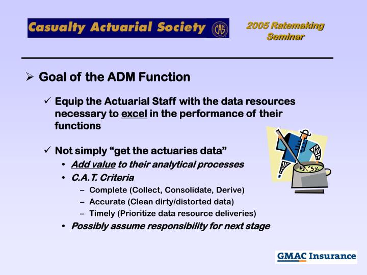 Goal of the ADM Function