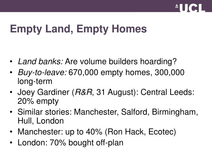 Empty Land, Empty Homes