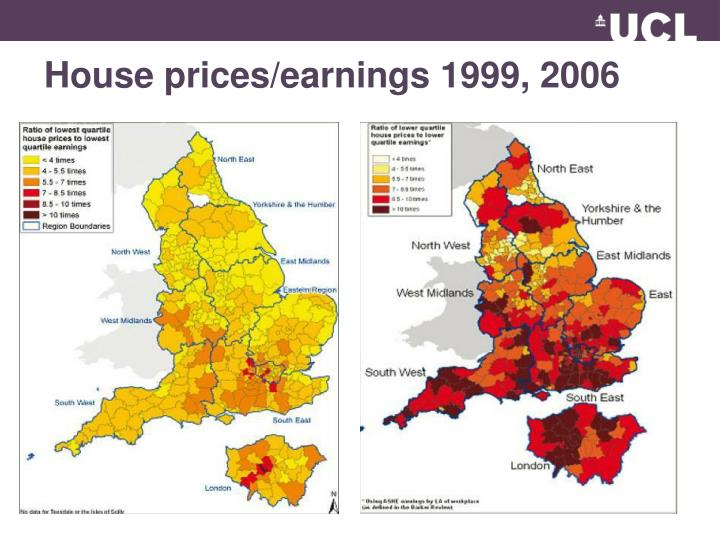 House prices/earnings 1999, 2006