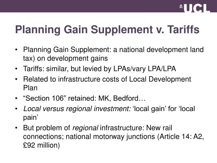 Planning Gain Supplement v. Tariffs