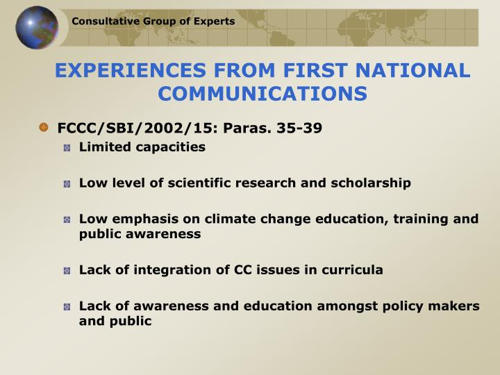 Experiences from first national communications