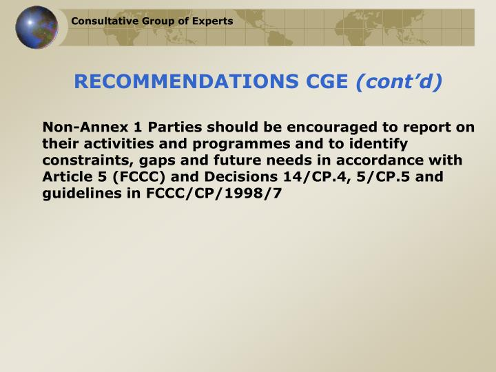RECOMMENDATIONS CGE