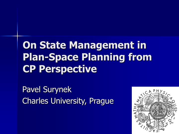 on state management in plan space planning from cp perspective n.
