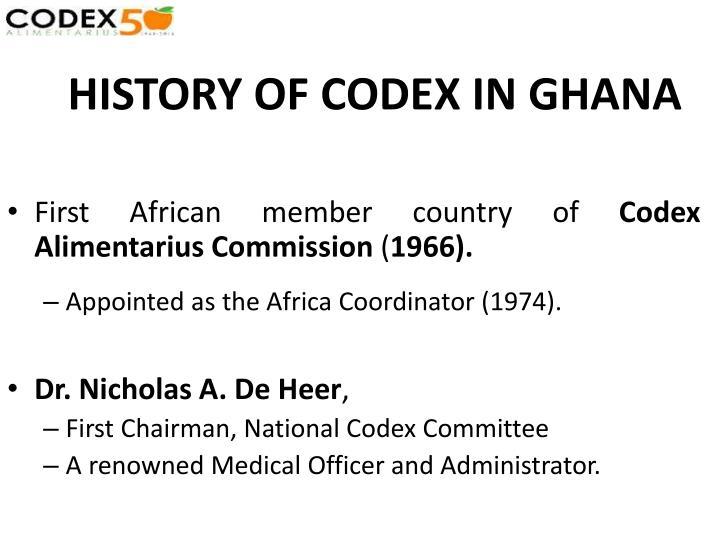 History of codex in ghana