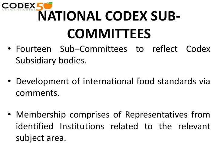 NATIONAL CODEX SUB-COMMITTEES