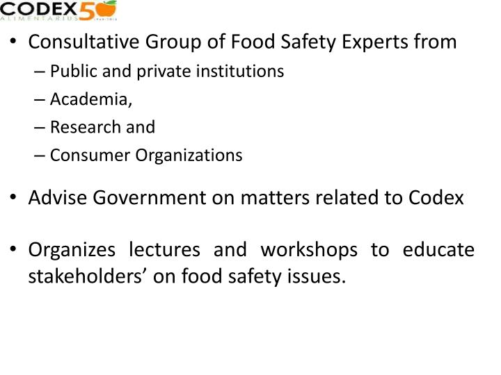 Consultative Group of Food Safety Experts from