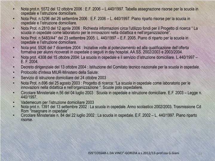 Nota prot.n. 5572 del 12 ottobre 2006 :