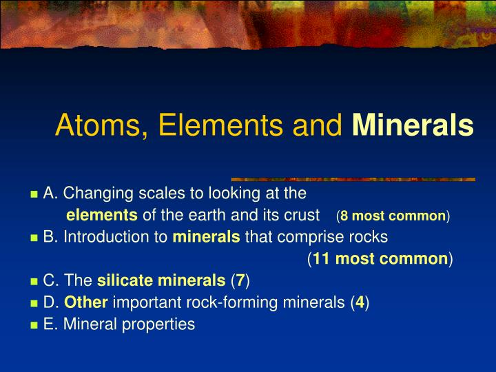 atoms elements and minerals n.
