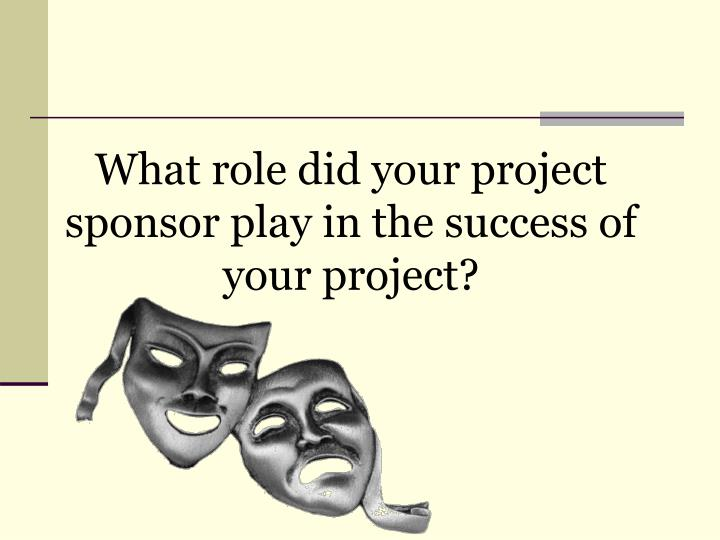 What role did your project sponsor play in the success of your project?