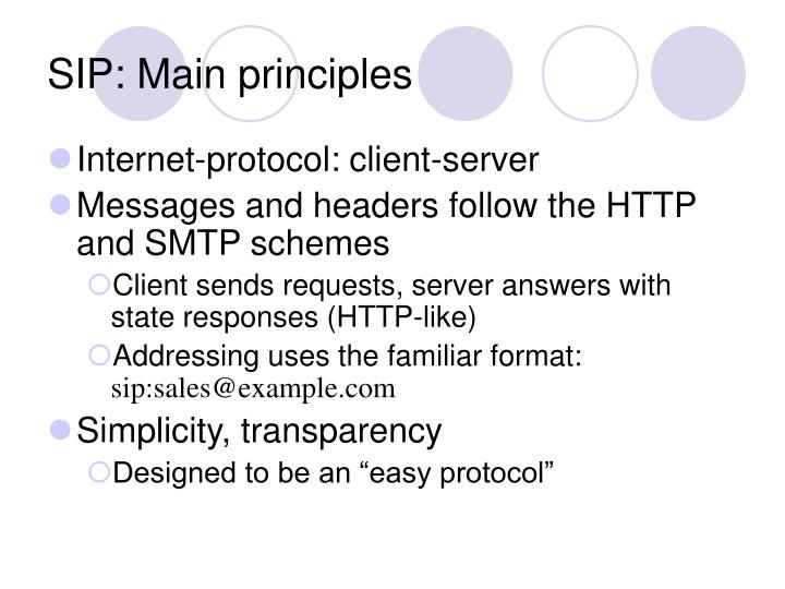 SIP: Main principles
