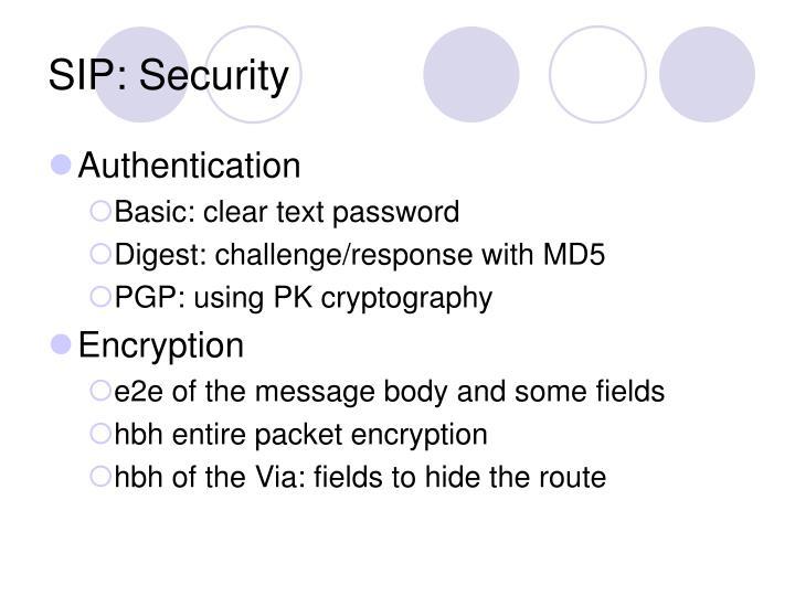 SIP: Security