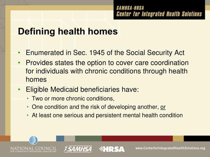 Defining health homes