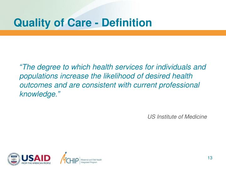 Quality of Care - Definition