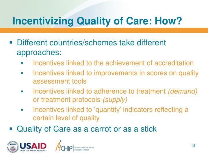 Incentivizing Quality of Care: How?