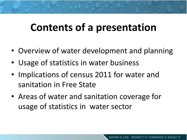 Contents of a presentation