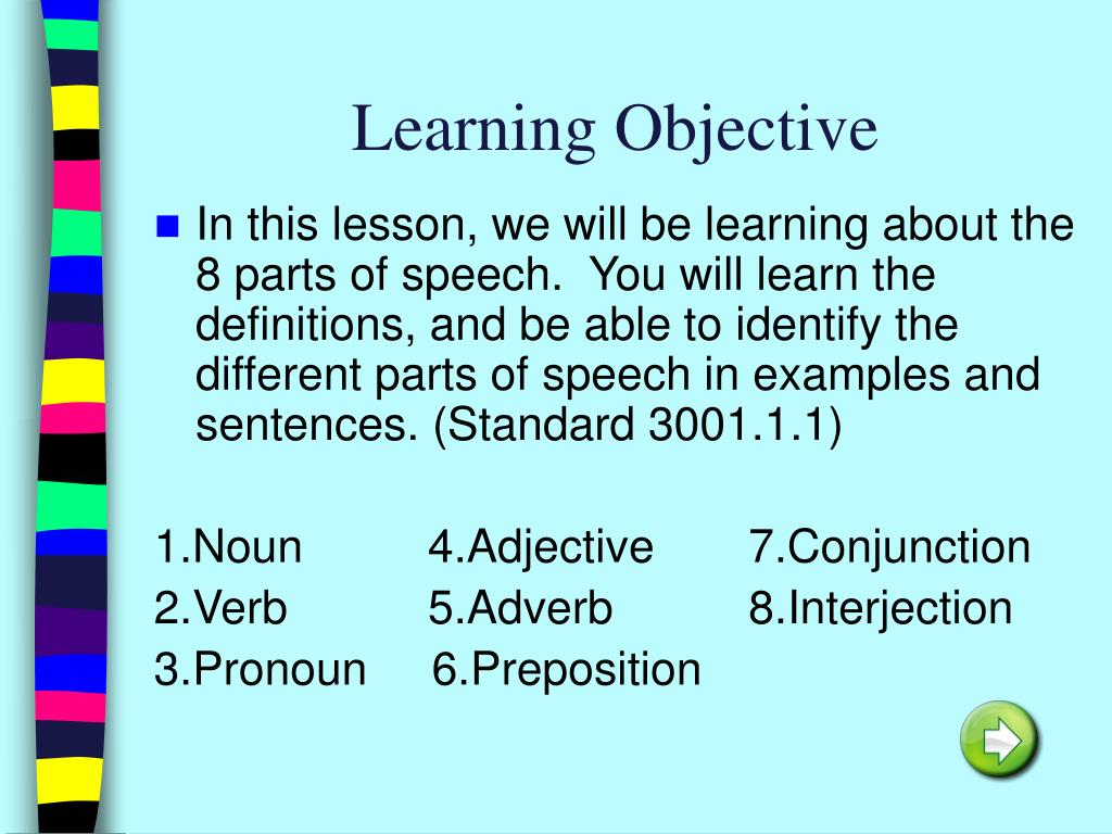 PPT - 8 Parts of Speech PowerPoint Presentation - ID:4822008