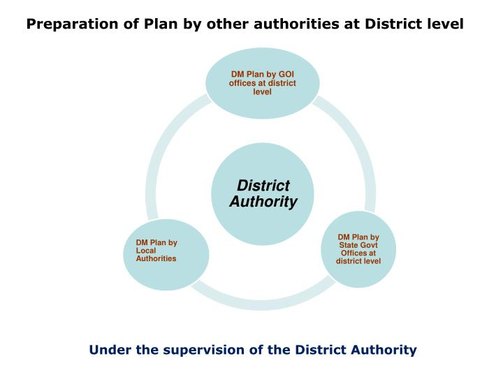 Preparation of Plan by other authorities at District level