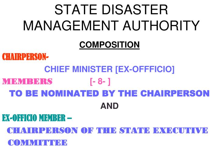 STATE DISASTER MANAGEMENT AUTHORITY