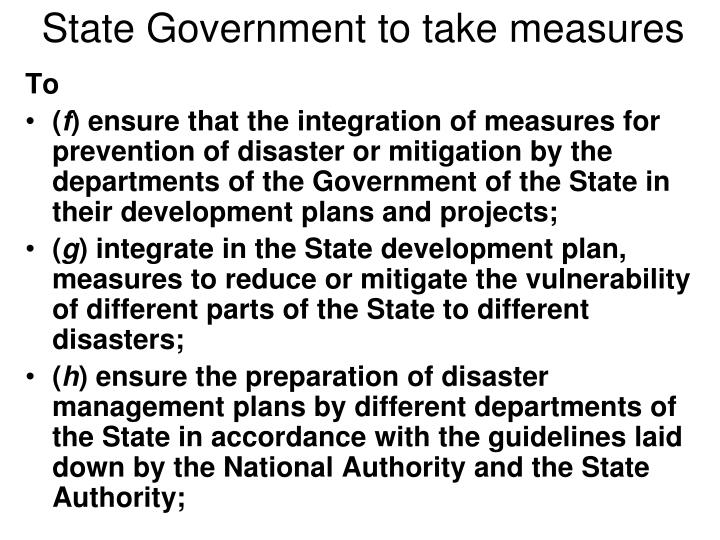 State Government to take measures