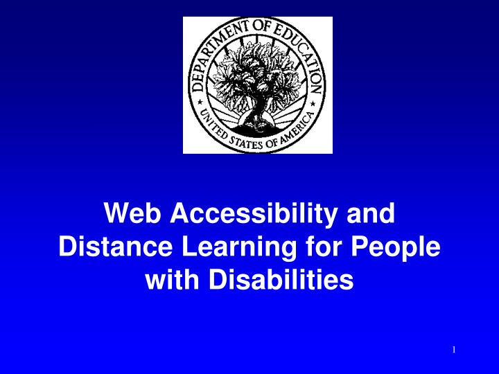 web accessibility and distance learning for people with disabilities n.