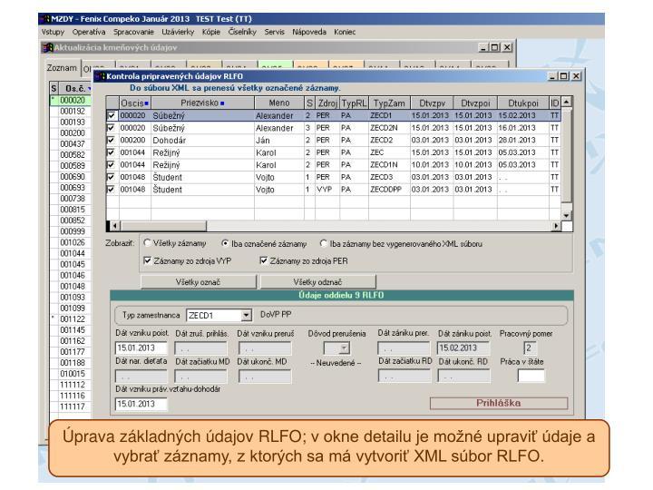 Úprava základných údajov RLFO