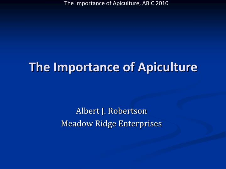 the importance of apiculture n.