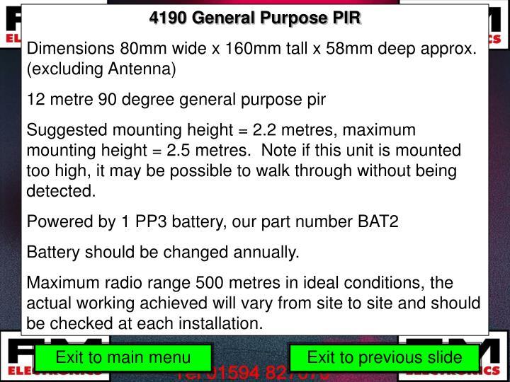 4190 General Purpose PIR