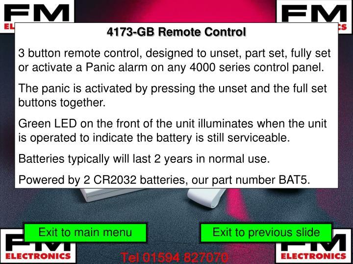4173-GB Remote Control