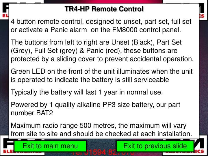 TR4-HP Remote Control