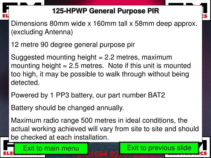 125-HPWP General Purpose PIR