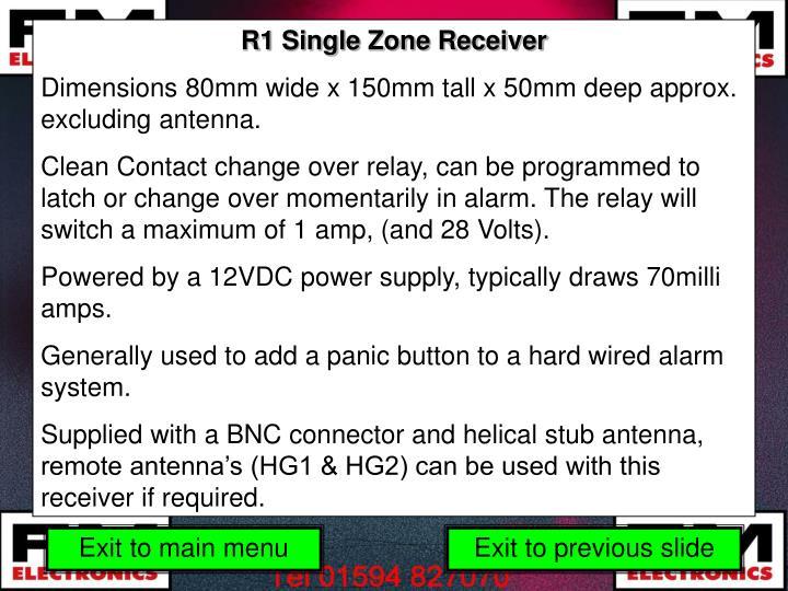 R1 Single Zone Receiver