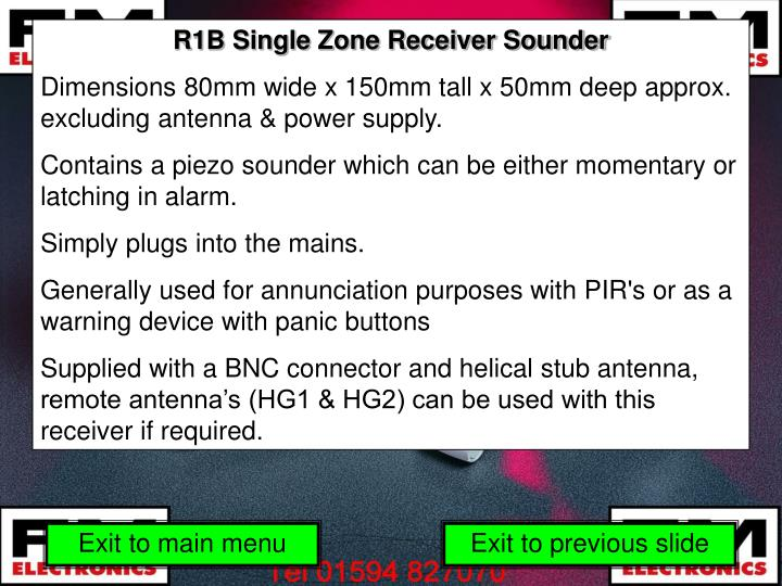 R1B Single Zone Receiver Sounder