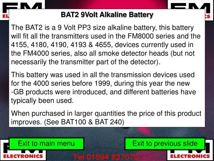 BAT2 9Volt Alkaline Battery
