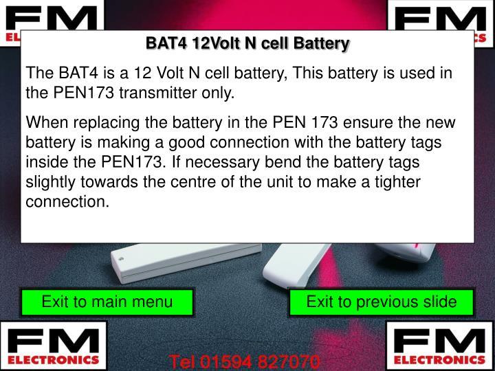 BAT4 12Volt N cell Battery