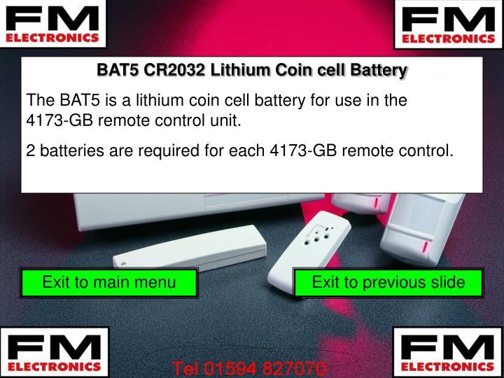 BAT5 CR2032 Lithium Coin cell Battery