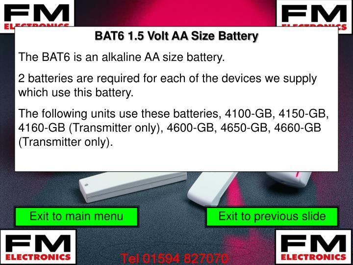 BAT6 1.5 Volt AA Size Battery