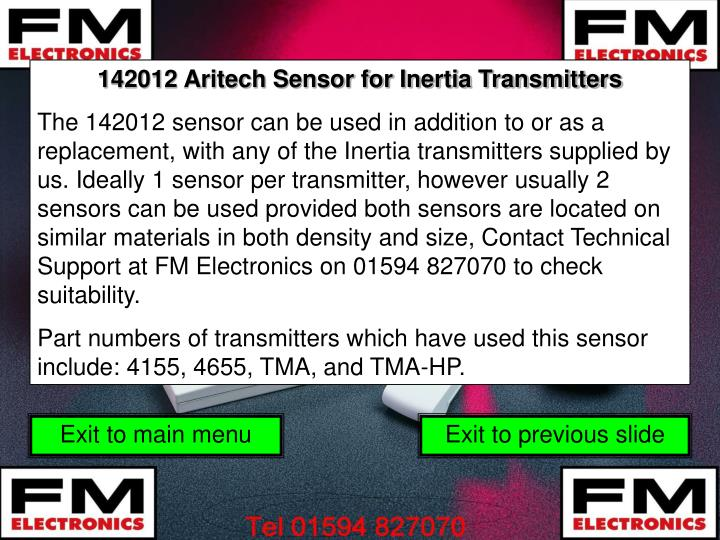 142012 Aritech Sensor for Inertia Transmitters