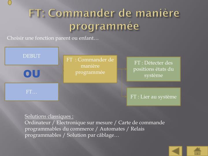 FT: Commander de manière programmée