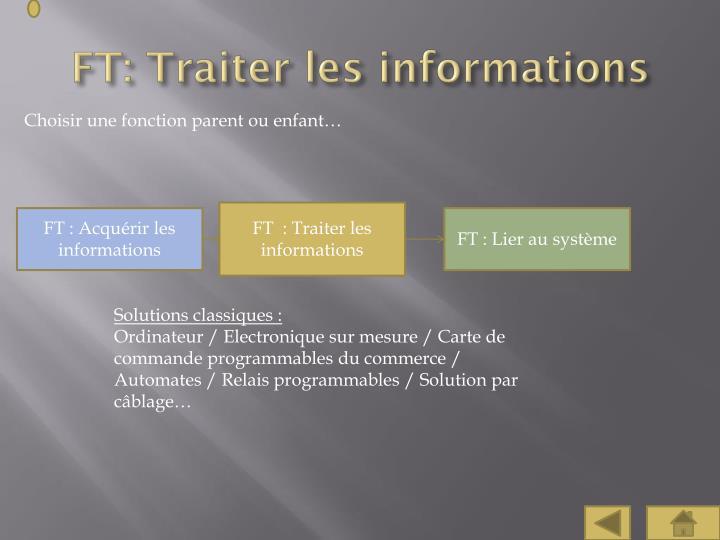 FT: Traiter les informations