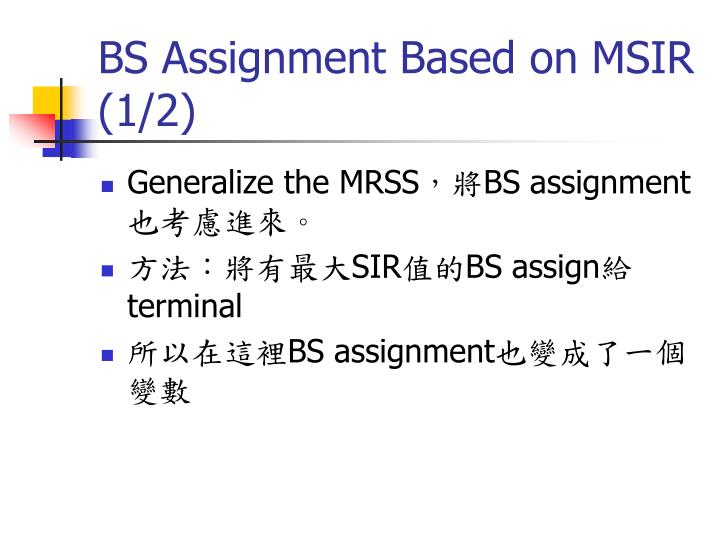BS Assignment Based on MSIR (1/2)