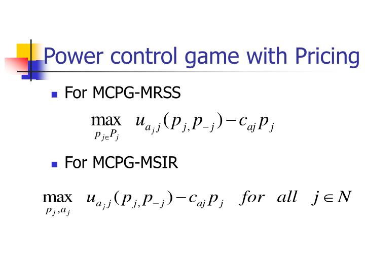 Power control game with Pricing