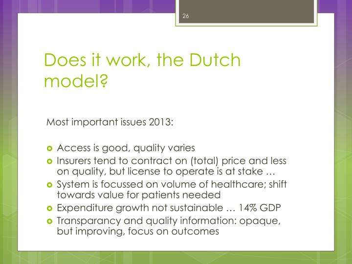 Does it work, the Dutch model?