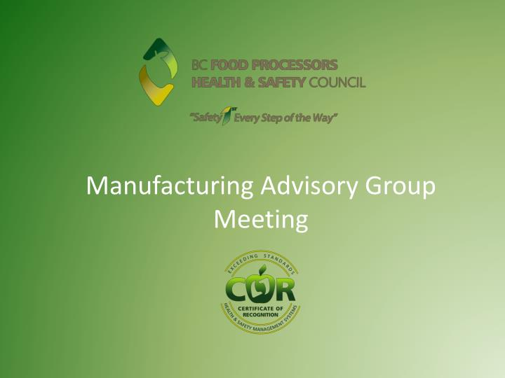 manufacturing advisory group meeting n.