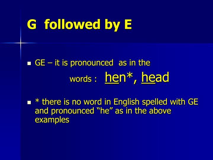 G  followed by E
