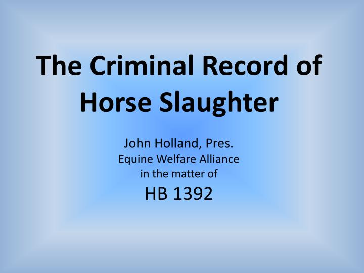 The Criminal Record of Horse Slaughter