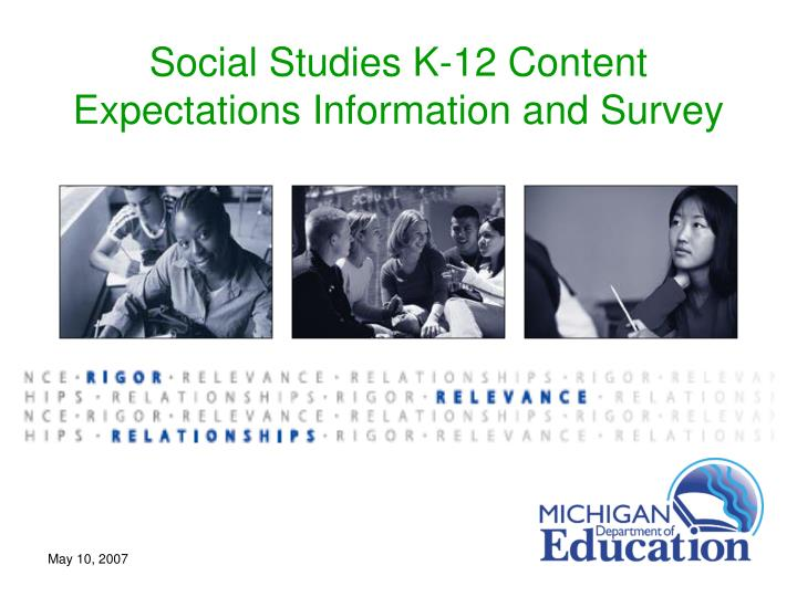 Social Studies K-12 Content Expectations Information and Survey